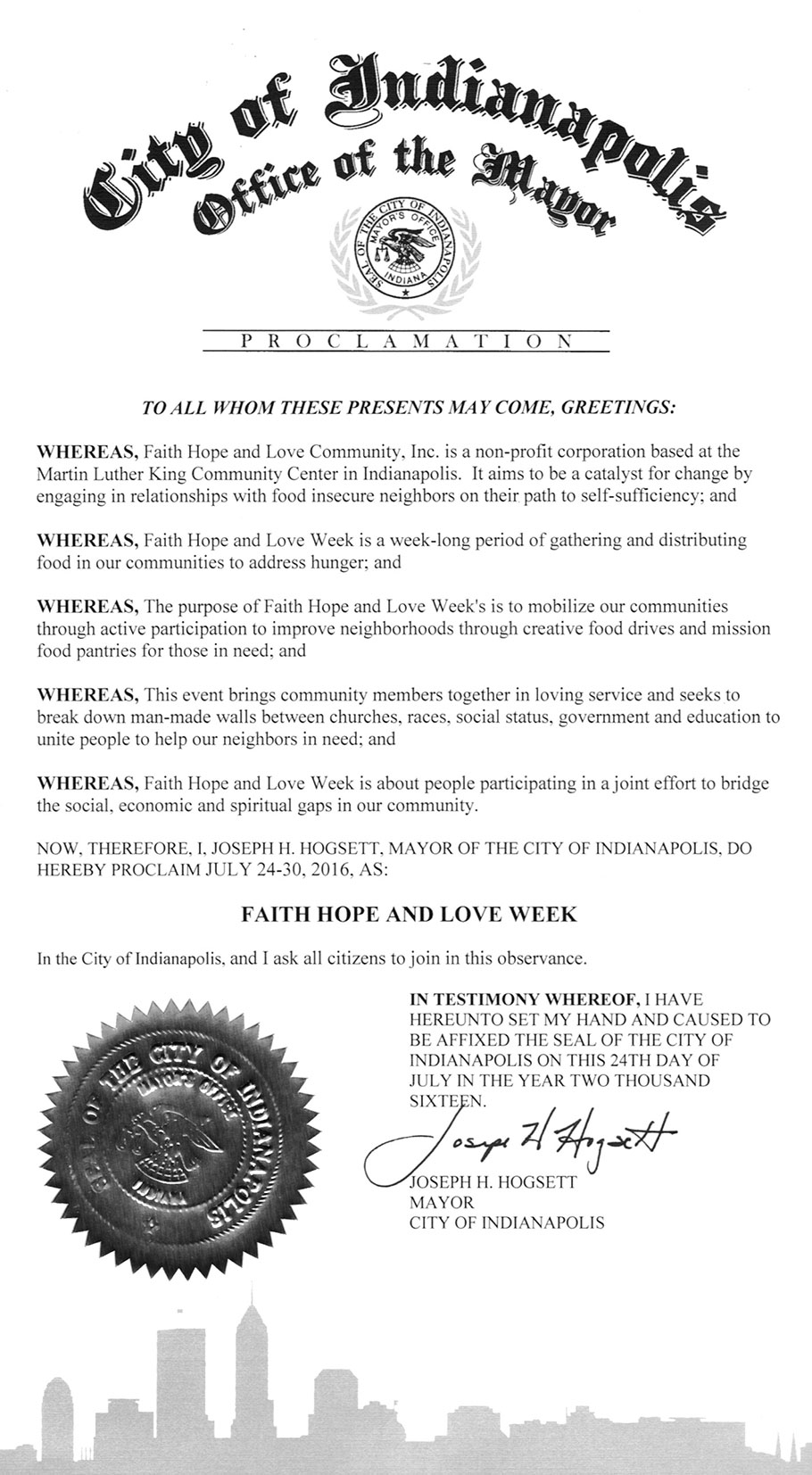 Mayor Hogsett Proclaims FHL Week 2016!