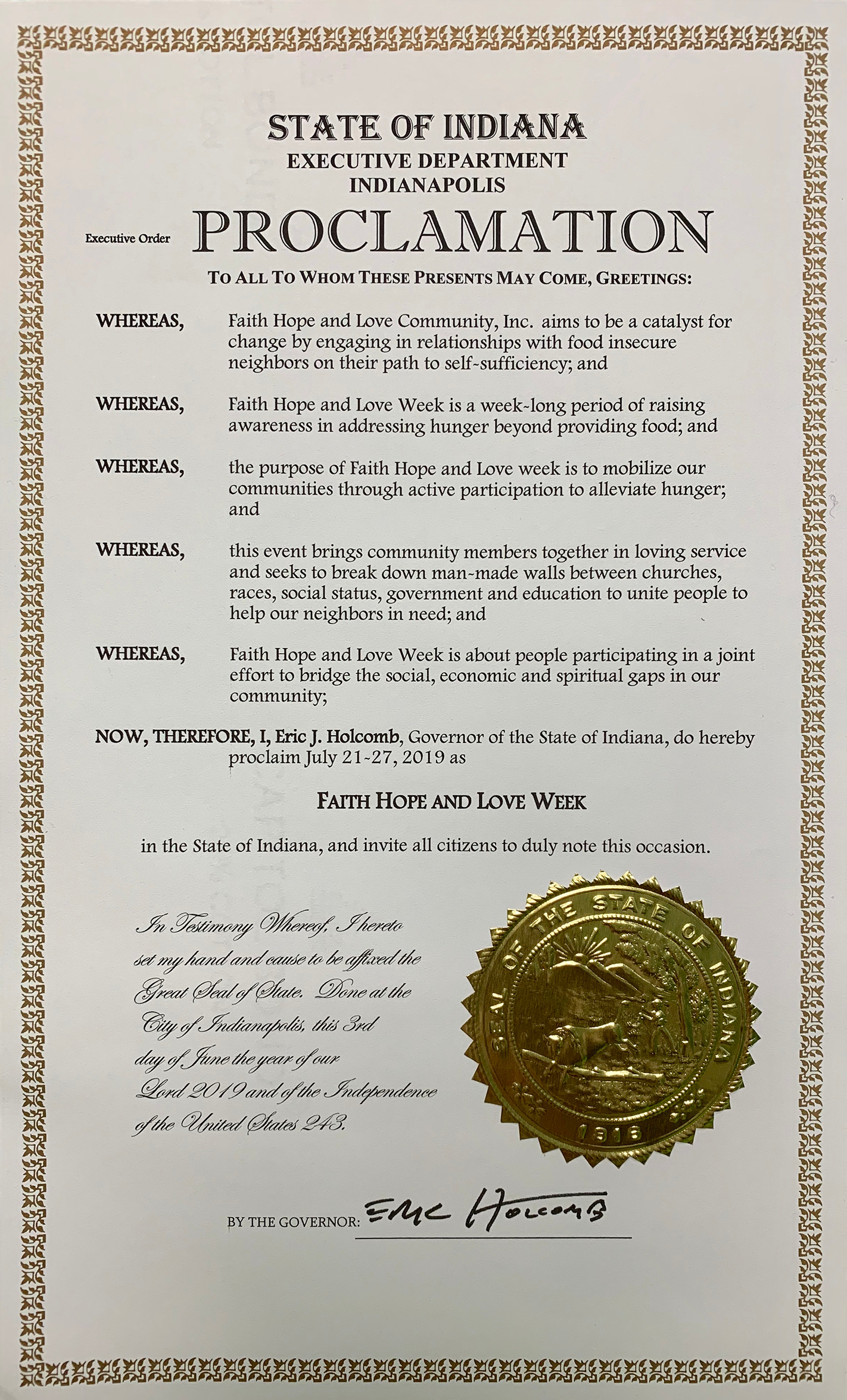 Governor Proclaims FHL Week 2019
